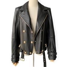 Blouson en cuir véritable femme, classique à la mode, veste à glissière, avec ceinture, pour femmes noires