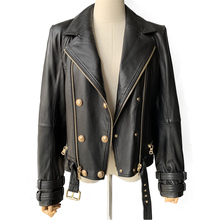 Gerçek deri ceket kadın moda klasik fermuarlı ceket ceket kemer siyah kadınlar bayanlar hakiki DERİ CEKETLER kadın