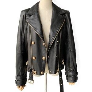 Image 1 - Prawdziwa skórzana kurtka kobiety moda klasyczna kurtka z zamkiem płaszcz z paskiem czarne kobiety panie prawdziwej skóry kurtki kobieta