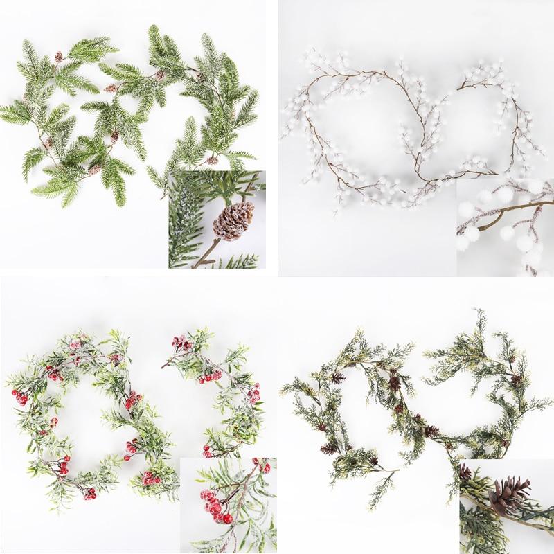 Ev için noel süsleri kar kırmızı dut Pinecones çam dalları çelenk garland noel yapay bitki yeni yıl navidad