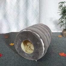 Çıkarılabilir kedi mağara yatak peluş yastık Pet House köpek kulübesi sıcak peluş Hamster yuva yavru köpek kış kediler malzemeleri