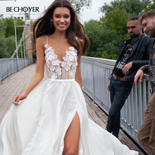 Vestido de Noiva Schatz 3D Blumen Tüll Hochzeit Kleid Spaghetti trägern Backless A Line Gericht Zug BECHOYER PA07 Braut Kleid