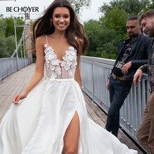 Đầm Vestido De Noiva Người Yêu 3D Hoa Voan Áo Cưới Chân Váy Xòe Caro Hở Lưng Chữ A Triều Đình Đoàn Tàu BECHOYER PA07 Cô Dâu Bầu