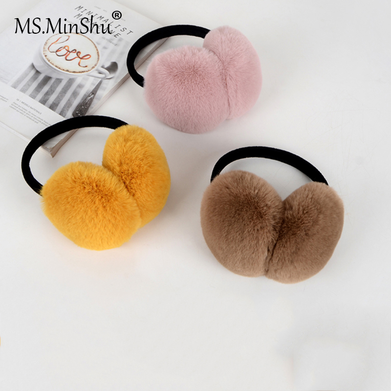 Ms.MinShu Unisex Earmuff Faux Fur Earmuff Thick Fur Winter Ear Warmer Plush Fur Headphone Extensible For Child And Adult