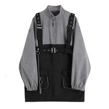 Robe à bretelles Style Punk Harajuku pour femmes, Vintage, manches longues, Streetwear, gothique, deux pièces, automne 2020
