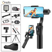 Orsda s5b 3-axis cardan estabilizador gopro câmera estabilizador shandheld selfie vara tripé para conexão smartphone bluetooth