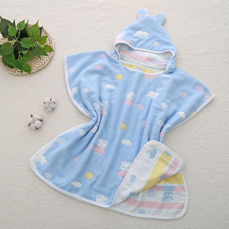 L01 Six 6-Layer Gauze Pure Cotton A Class 4-Layer Cloak Bath Towel Children Hooded Mantle Bathrobe Soft Non-Fluorescent Agent Fa