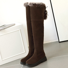 Shoe Snow-Boots Over-The-Knee-Boots Women's Low-Heels Suede Black Winter Casual Lady