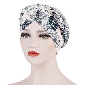 Image 5 - Helisopus Neue Baumwolle Gedruckt Braid Turban Frauen Islamischen Inneren Hijab Caps Kopftuch Arabischen Wrap Kopf Schals Femme Haar Zubehör