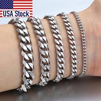 3-11mm Mens Bracelets Stainless Steel Curb Cuban Link Chain Silver Color Black Gold Bracelet Men Women Jewelry Gift 7-10 KBM03