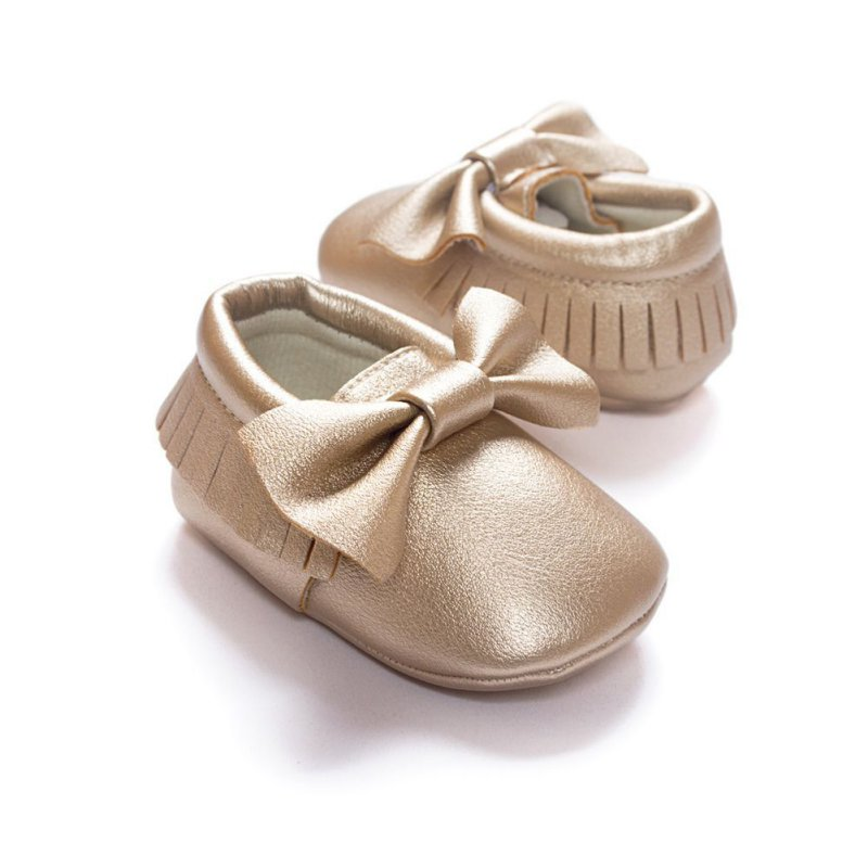 Unisex Toddlers Baby Shoes Newborn Soft Soled Tassel PU Leather Crib Shoes Bow First Walkers Without Logo