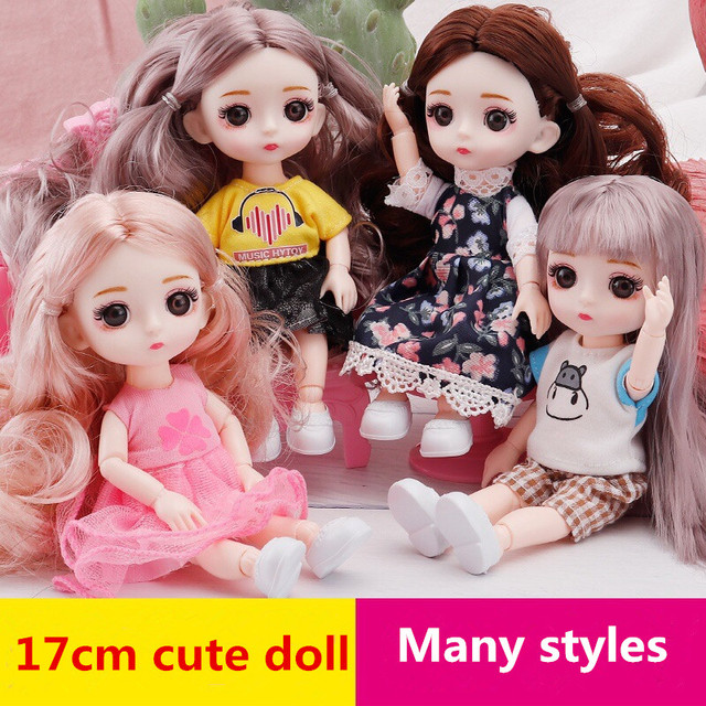 New BJD Mini Doll 16 Cm 13 Movable Joints Girl Baby 3D Big Eyes Beautiful Doll with Clothes Dress Up Christmas Gifts for Girls