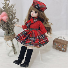 30 Cm 1/6 BJD Doll Winter Dress Set 21 Movable Joint Makeup Cute Girl Brown Eyes Doll with Fashionable New Skirt DIY Toy Gift