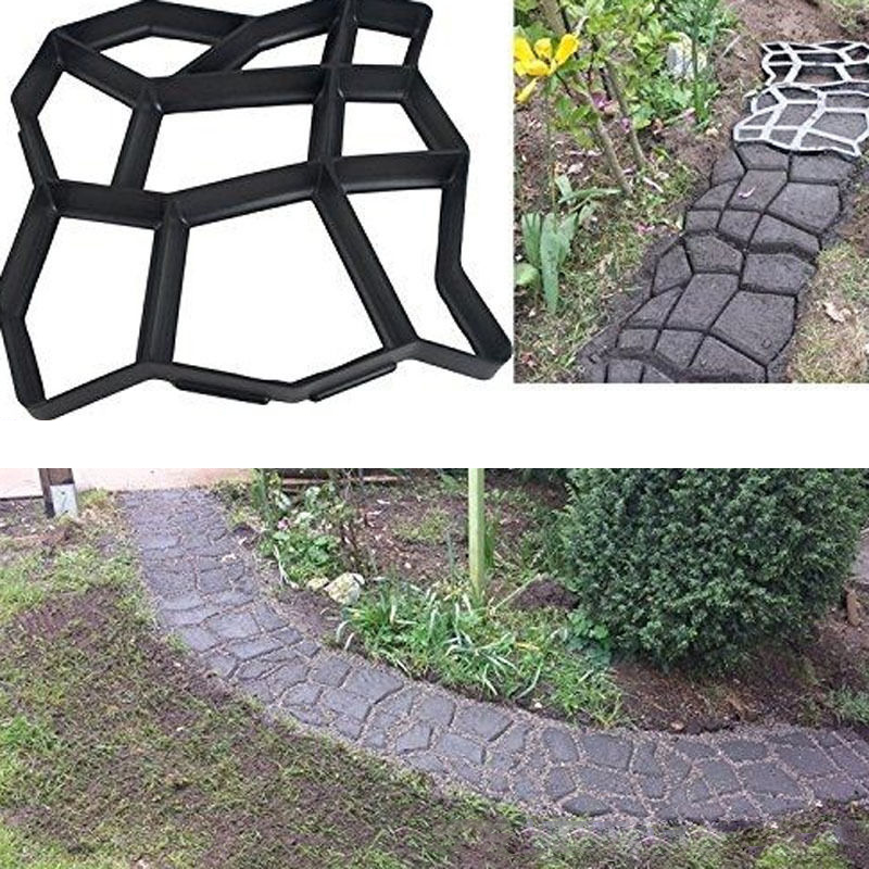 Black Plastic Making DIY Paving Mould Home Garden Floor Road Concrete Stepping Driveway Stone Garden Path Mold Patio
