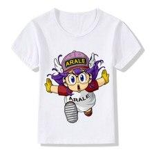 Japan Style New Childrens Short Sleeve  T-shirt Akira Toriyama Cartoon Alalei Cute POSE Fun Pattern Girls Tops Kids Casual Tees