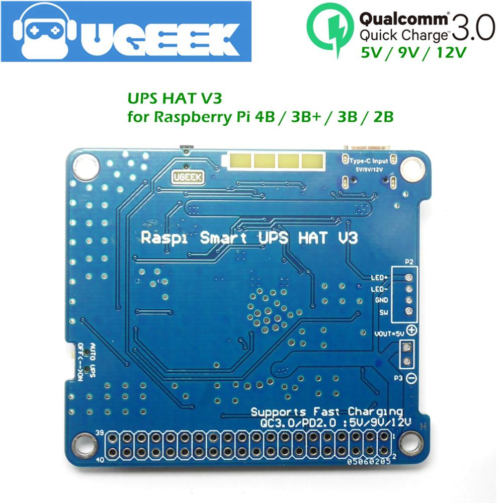 UGEEK UPS3 HAT with battery for <font><b>Raspberry</b></font> <font><b>4B</b></font> 3B+ 3B|Support Quick Charge QC3<5V/9V/12V|Charge while discharge|<font><b>Power</b></font> off via GPIO image