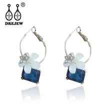 DREJEW Vintage Blue Zircon White Flower Statement Earrings 2019 Korean Fashion Alloy 925 Hoop Earrings for Women Wedding HE8371 pair of vintage alloy hoop earrings for women
