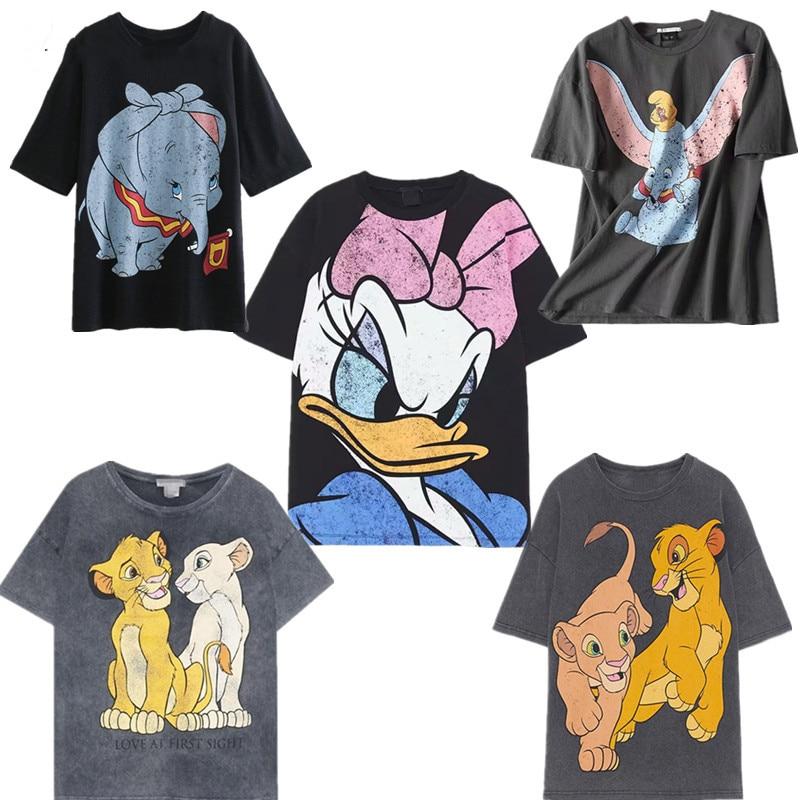 Cartoon Mickey Print Cotton O-neck Loose Casual Tshirt Streetwear Tops Plus Size Summer Fashion Tshirt Women Harajuku Streetwear