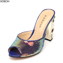 Designer High Heels Sandals Women Luxury 2019 Peep Toe Plus Size Wedding Brand Rhinestone Sandals Shoes Woman Block Heels цена 2017