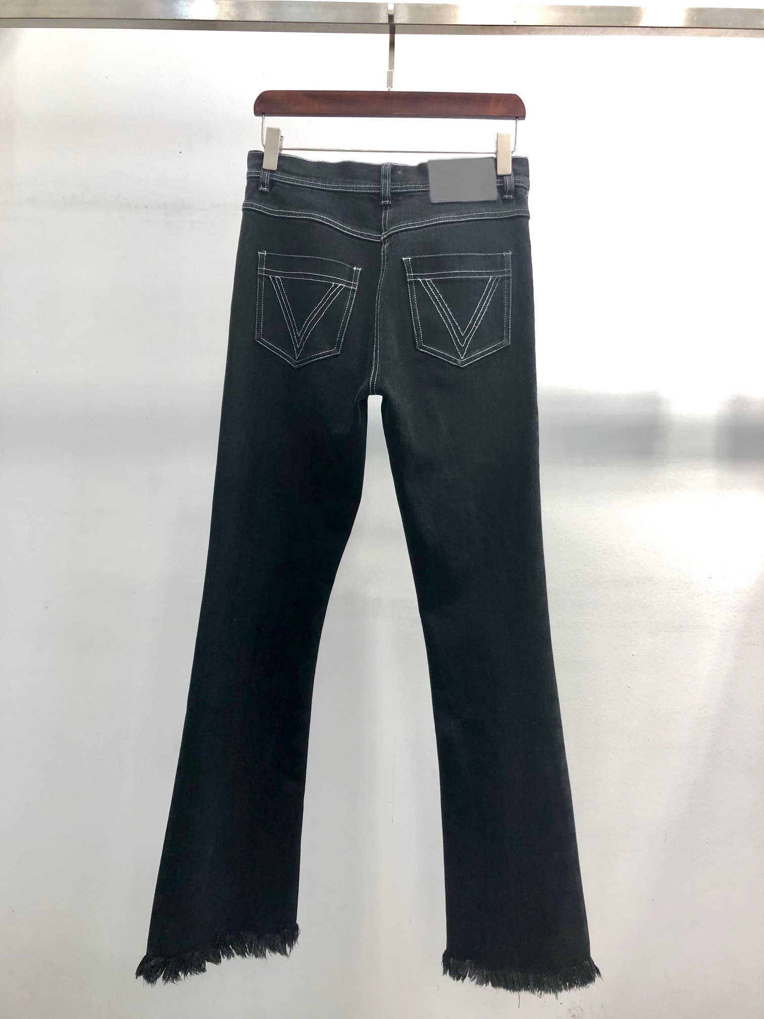 12.20 2020 yeni kadın ağır sanayi nakış püsküller orta bel Flare kot pantolon uzun pantolon