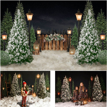 Mocsicka Christmas Winter Snow Photography Backdrops Children Portrait Photographic Studio Photo Backgrounds Pine Fence Decor mocsicka christmas winter snow night backdrops for photography christmas tree fence decor photographic studio photo backgrounds