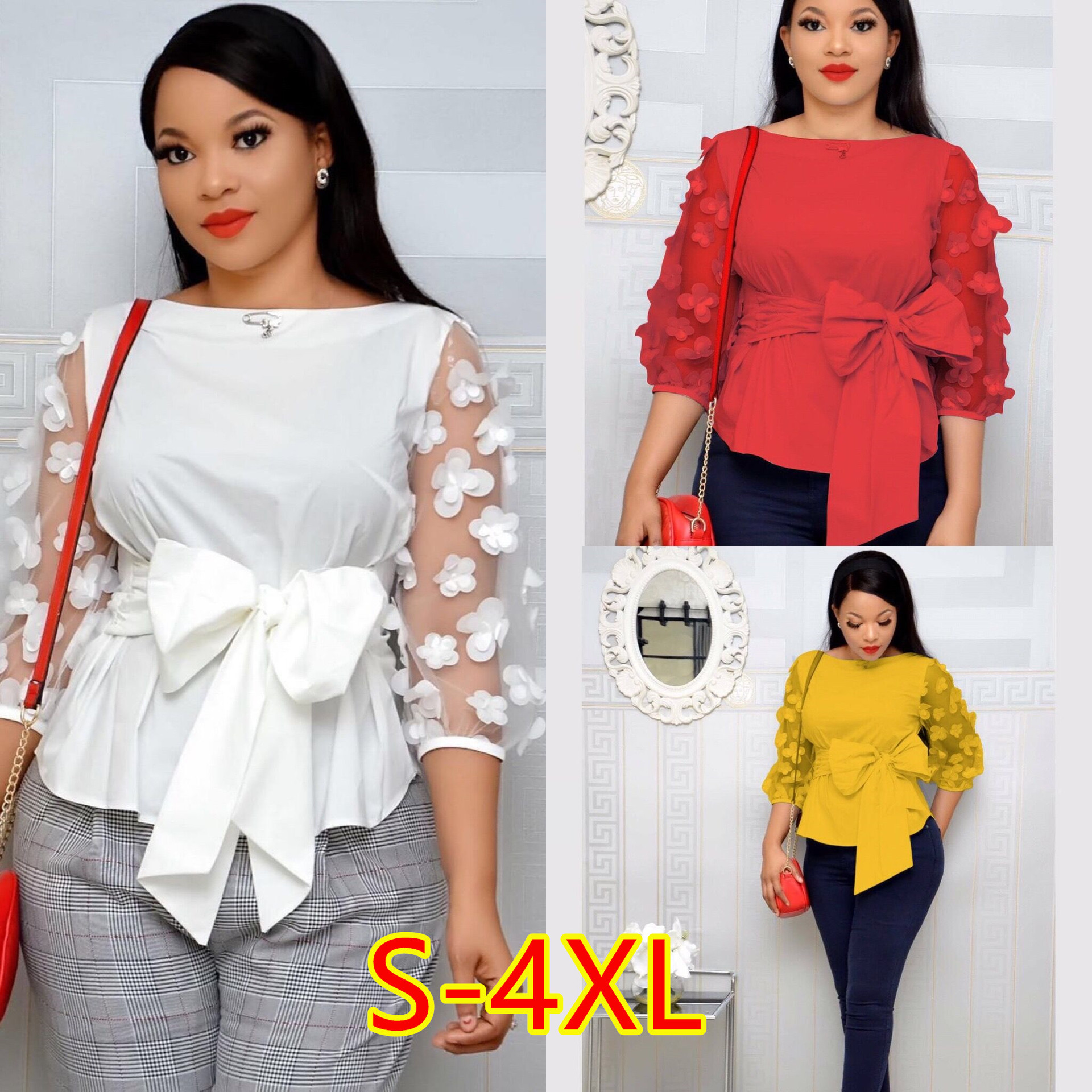 2019 S-4XL Women Fashion Polka Dot Blouses Sexy Mesh Sheer See-through Shirts Gauze Tull Tops Blusas Femininas