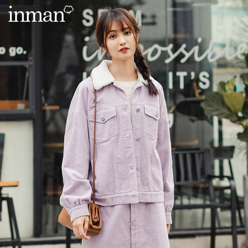 INMAN 2020 Spring New Arrival Literary Lapel Dropped Shoulder Sleeve Single Breasted Loose Women Coat