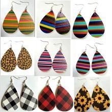 Fashion Dangle Drop Earrings for Women Female Christmas Teardrop PU Leather Bohemia Earrings Jewelry Accessories