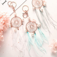 Gift Pink Black Beads Dreamcatcher Feather Wind Chimes Dream Catcher Charms Bag Key Chain Women Vintage Indian Style Keychain(China)