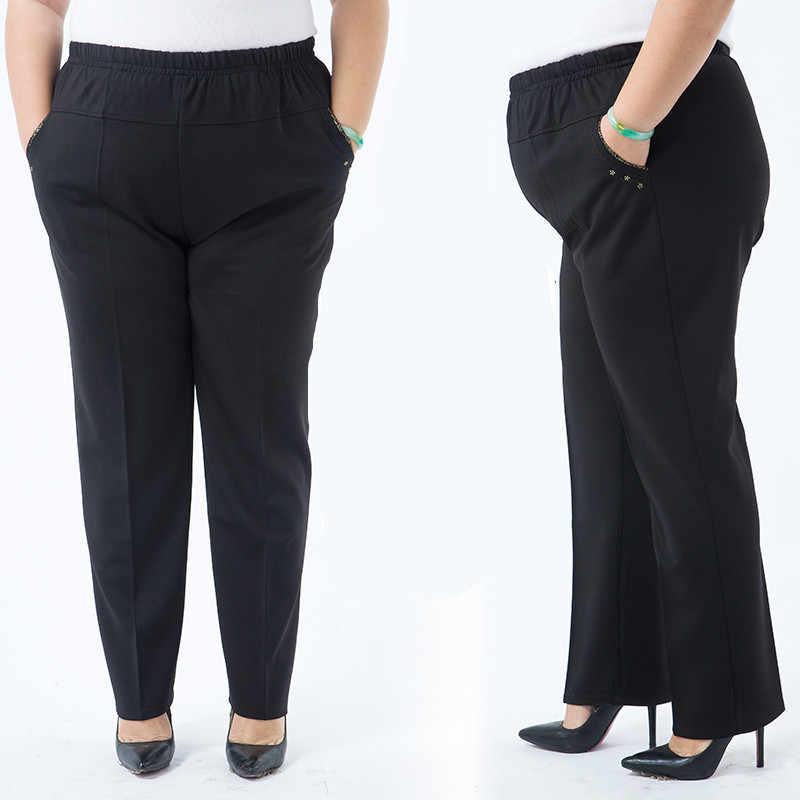 לבן נשים מכנסיים 2020 בתוספת גודל 6XL התיכון גיל נשים של חורף Capris מכנסיים אלסטיות גבוהה מותן סקיני שחור Slim מכנסיים J260