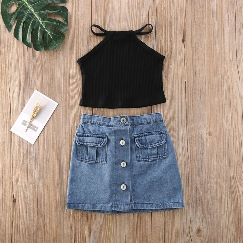 Summer Toddler Kids Baby Girl Sleeveless Top Shirt Denim Skirts Outfits Set 2PCS
