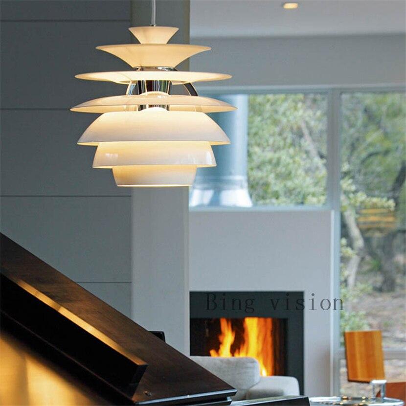 Postmodernistyczna minimalistyczny biały aluminium pojedynczy klosz lampa wisząca nordycki kreatywny szyszka projekt LED restauracja decor E27 oświetlenie