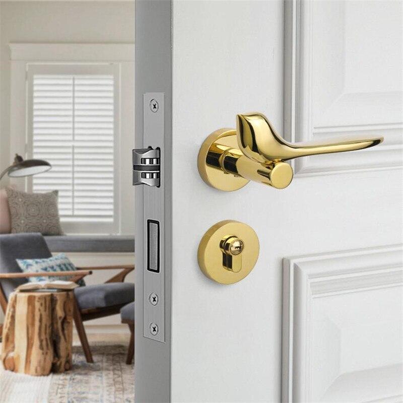 Gold Bird Modern Split Door Lock Interior Door Lock Set Hardware Handles Bedroom Locks With Lock Body