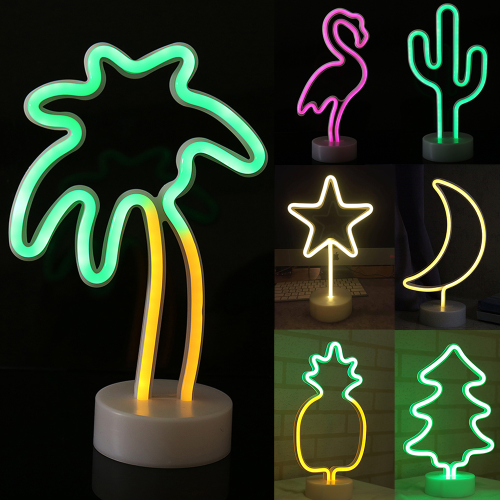Led Neon Light Sign Holiday Xmas Party Wedding Decorations Flamingo Moon Unicorn Neon Lamp Cactus Kids Room Home Decor D35