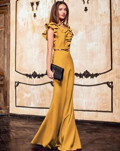 Image 3 - Kadınlar uzun Maxi elbise Mermaid Ruffles akşam parti elbise zarif sarı yeşil kadın sonbahar elbise Vestido de Fiesta elbise MC 2870