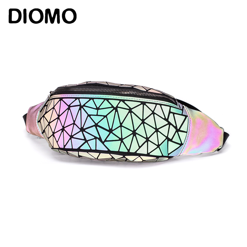DIOMO Fanny Packs Waist Pack For Women Luminous Holographic Traveling Bum Bag