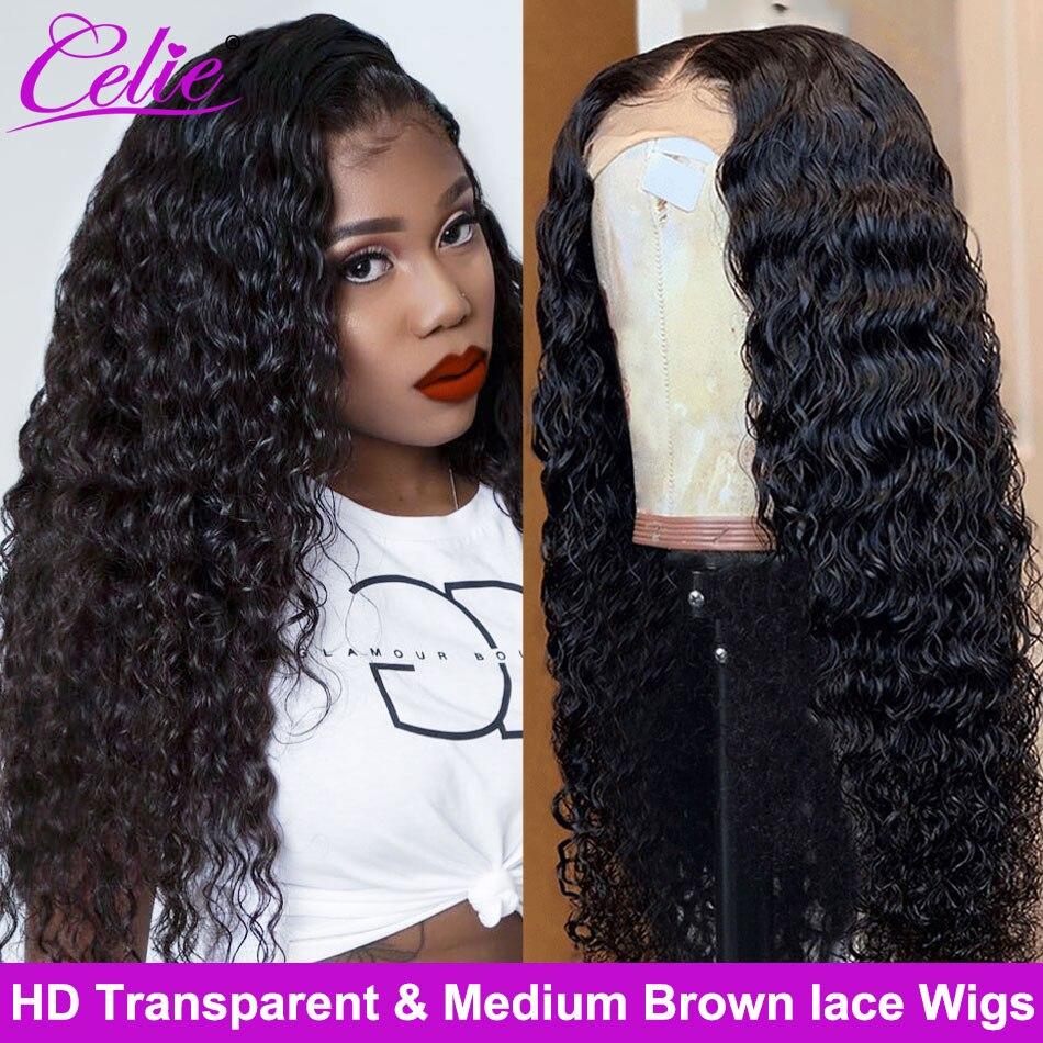 Celie HD koronkowa peruka peruka z mocnymi lokami wstępnie oskubane koronkowe peruki z przodu HD przezroczysta 360 koronkowa peruka z przodu brazylijski kręcone ludzkie włosy peruki