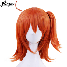 Ebingoo High Temperature Fiber Grand Order Gudako Short Straight Orange Synthetic Cosplay Wig With Ponytail
