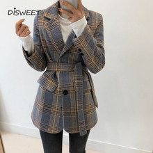 Striped Notched Suit woman jacket Korean Long-sleeved Single-breasted Belt Ladies Blazer Autumn Wint