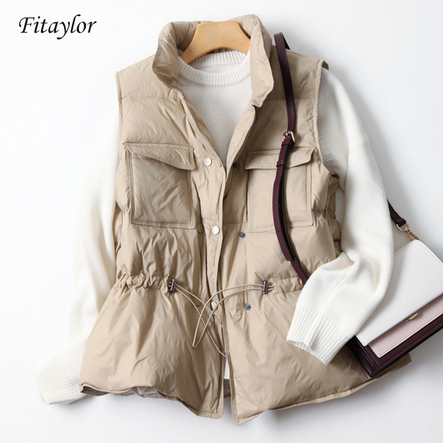 Fitaylor New Duck Down Coat Jacket Women Loose Double Breasted Warm Parkas Female Sleeveless Sash Tie Up Down Outwear 1