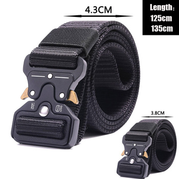 Tactical Military Belt High Quality Nylon Waist Support Men's Training Belt Automatic Buckle Outdoor Camping Belt Quick Release