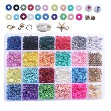 24 tipos de grânulos feitos à mão plana redonda heishi grânulos chip disco solto espaçador jóias diy fazendo colar pulseira encontrando