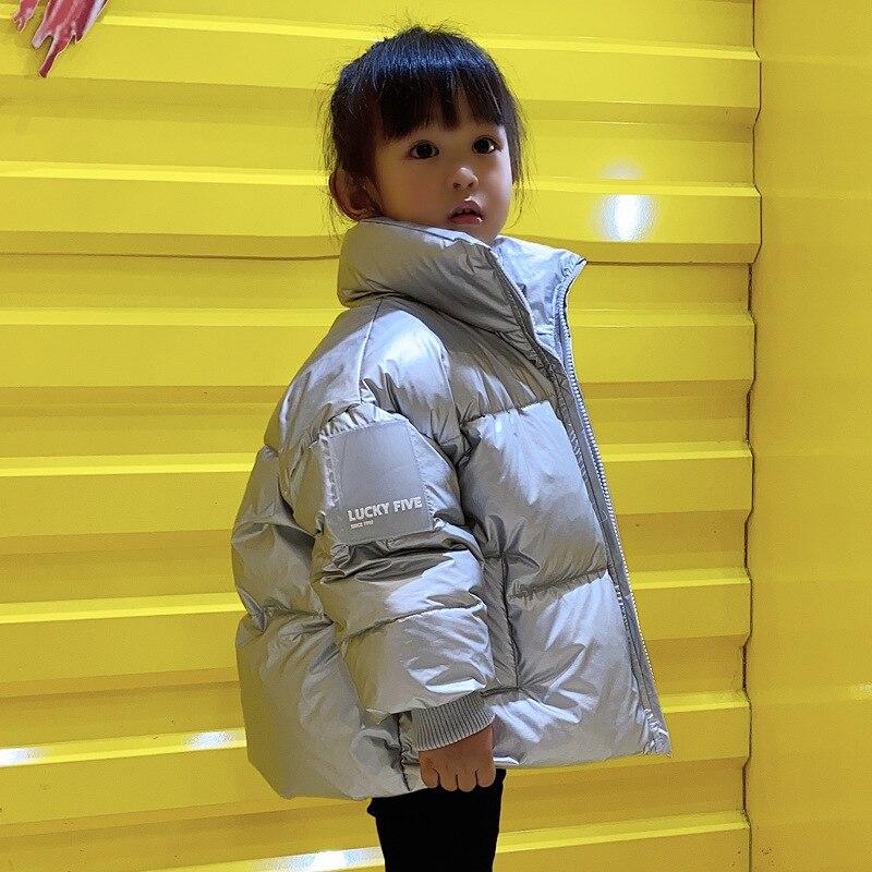 OLEKID/2021 детей корейское зимнее пальто версия Водонепроницаемый блестящая куртка-пуховик для девочек, зимняя куртка От 3 до 12 лет; Детские под...