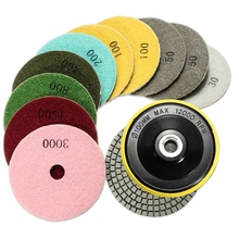 12Pcs/Set 4 Inch/100mm Abrasive Tools Wet Dry Diamond Polishing Pads Sanding Disc Grinder for Granite Stone Concrete Marble Poli