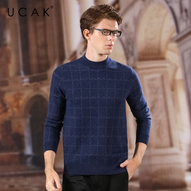 UCAK Brand Thick Sweaters Men 2020 Pure Merino Wool Casual New Arrival O-Neck Fashion Style Tops Brand Pull Homme Sweater U3167