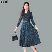 New Women Dress 2019 A-Line Female Print Ladies V-Neck Long Sleeve Autumn Winter Elegant Womens Dresses