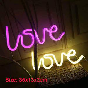 LED Neon Lights Love Shape Night Light Sign Lamp (Battery box + USB) Double Powered Nightlight for Indoor Christmas Wedding