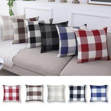 45*45CM Sofa Lattice Plaid Pillowcase Linen Household Decorative Home Bedroom Geometric Cushion Cover