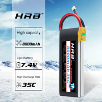 HRB 2S Lipo Battery 7.4V 8000mah 35C 70C RC Parts Deans T Bateria AKKU for Traxxas 1:10 1:12 RC Car Helicopter Airplane Car Boat