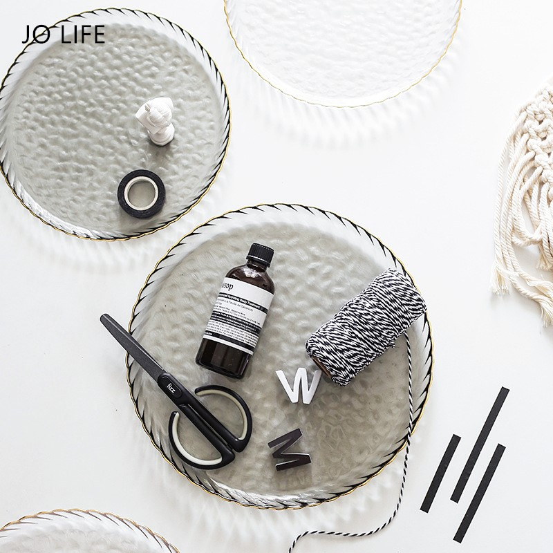 JO LIFE Nordic Creative Gold Edge Tableware Steak Dish Fruit Salad Tray Simple Design Glass Plate